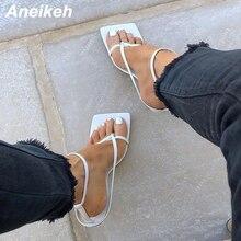 Gladiator Sandal Buckle-Strap Stiletto Square-Head Fashion Women Summer PU Aneikeh Narrow-Band