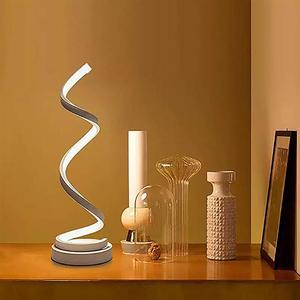 Image 2 - Espiral conduziu a lâmpada de mesa moderna curvada lâmpada cabeceira regulável branco/branco quente/natureza luz branca para sala estar quarto