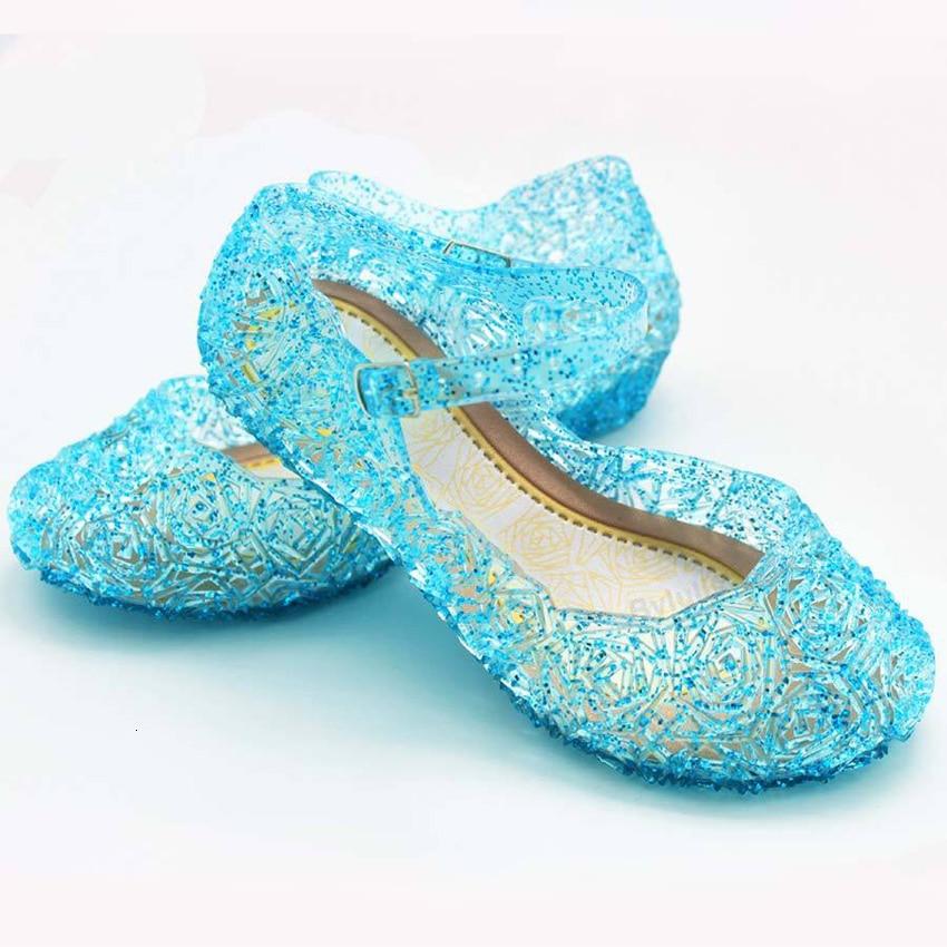 Cheap Shining Princess Anna Elsa Shoes Anime Crystal Cinderella Cosplay Costumes Accessories Summer Beach Sandals Birthday Gift