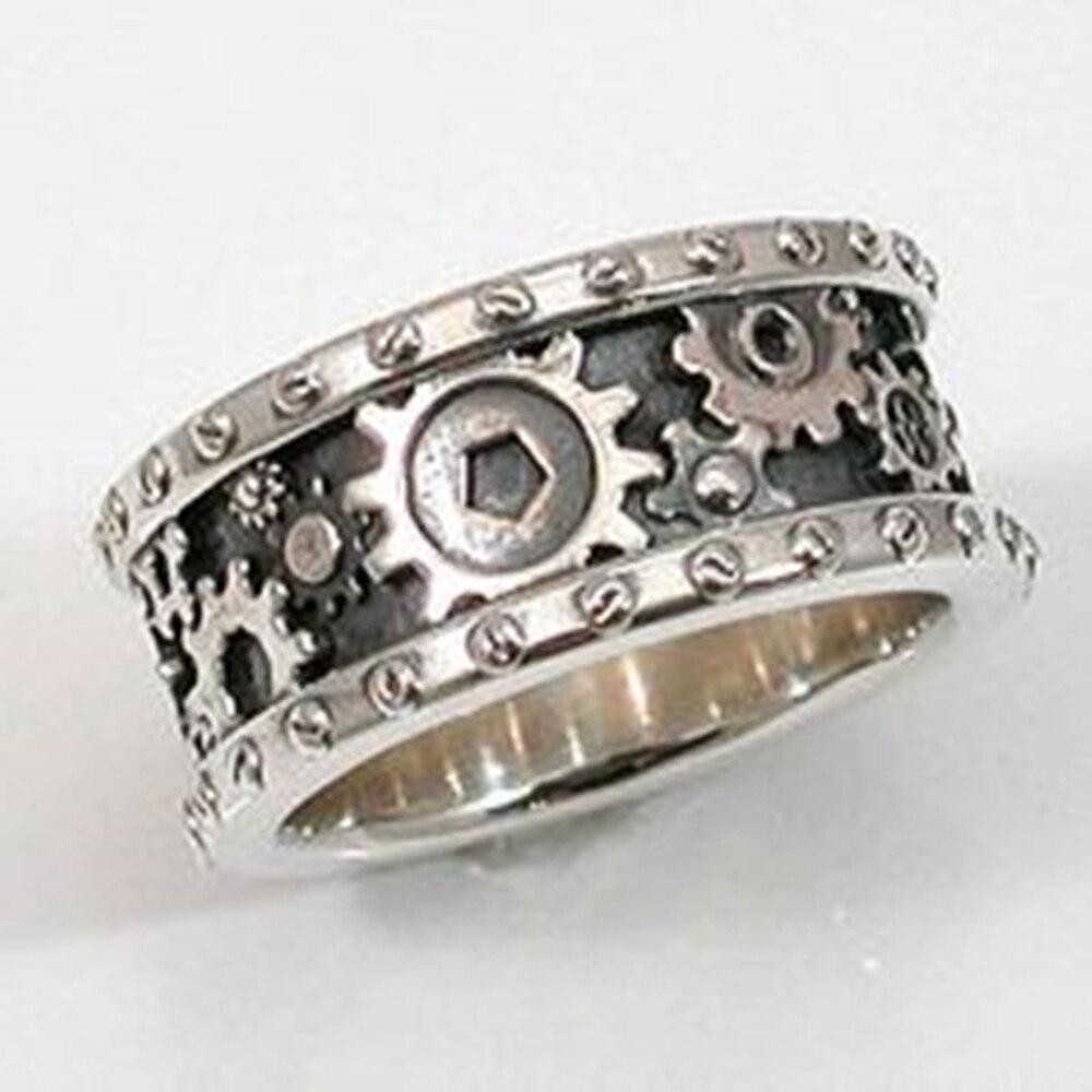 Huitan ручной работы шестерни резные кольца на палец, мужские/женские старинное серебро Цвет в стиле