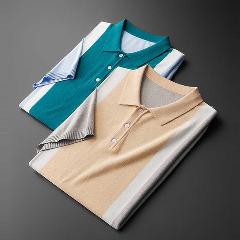 MuLS 브랜드 남성 폴로 셔츠 남성 여름 대비 색 니트 스웨터 폴로 남성 풀오버 트런 다운 칼라 플러스 사이즈 카키 탑스