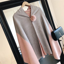 Hot style Korean version of joker casual rabbit hair ball two-sided Mosaic color imitation cashmere thickened warm scarf shawl w