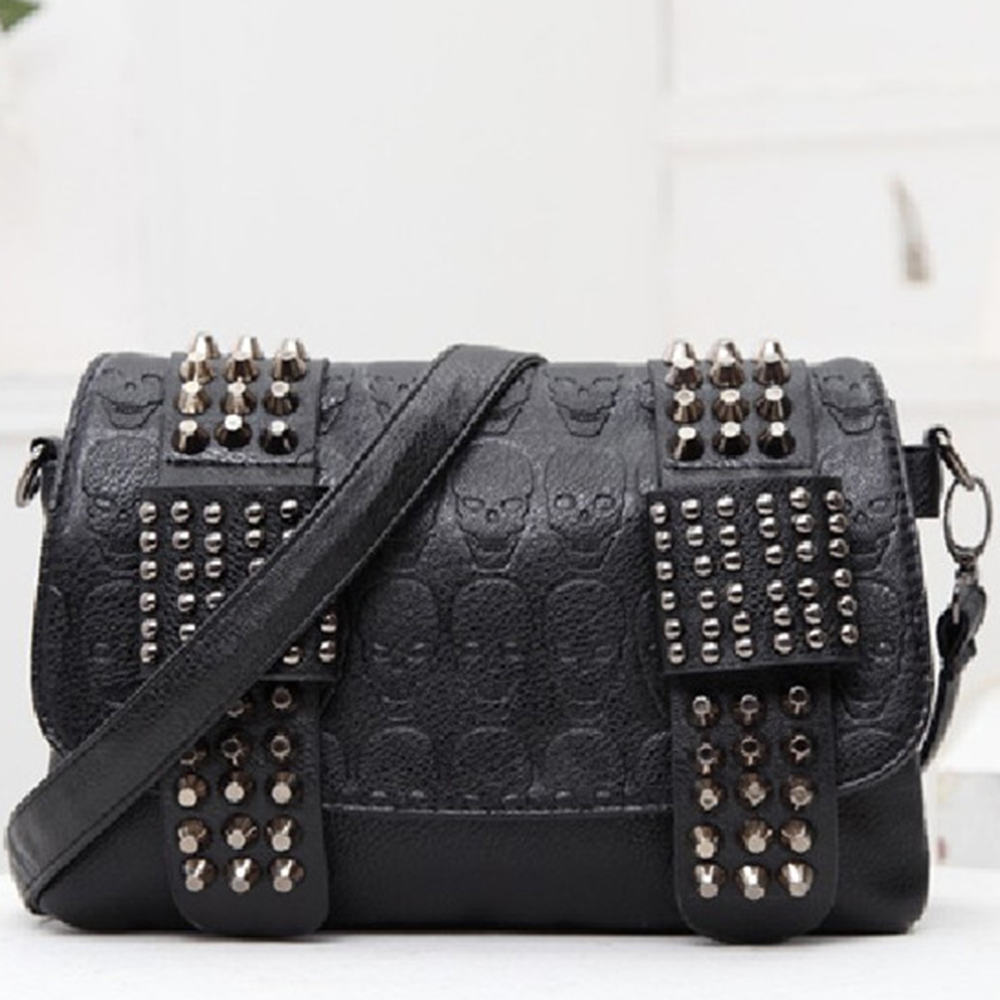 Fashion Punk Rivet Faux Leather Crossbody Bags Shoulder Bag For Women 2020 Luxury Hand-bags Gothic Designer Female Bolsos Mujer
