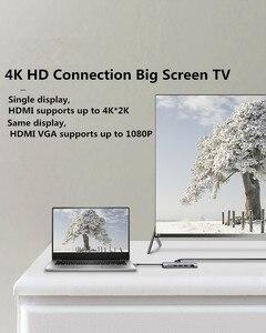 Image 5 - 썬더 볼트 3 USB C 허브 유형 C RJ45 VGA HDMI 오디오 다기능 도킹 스테이션 Macbook 삼성 S8 USB C 허브 어댑터