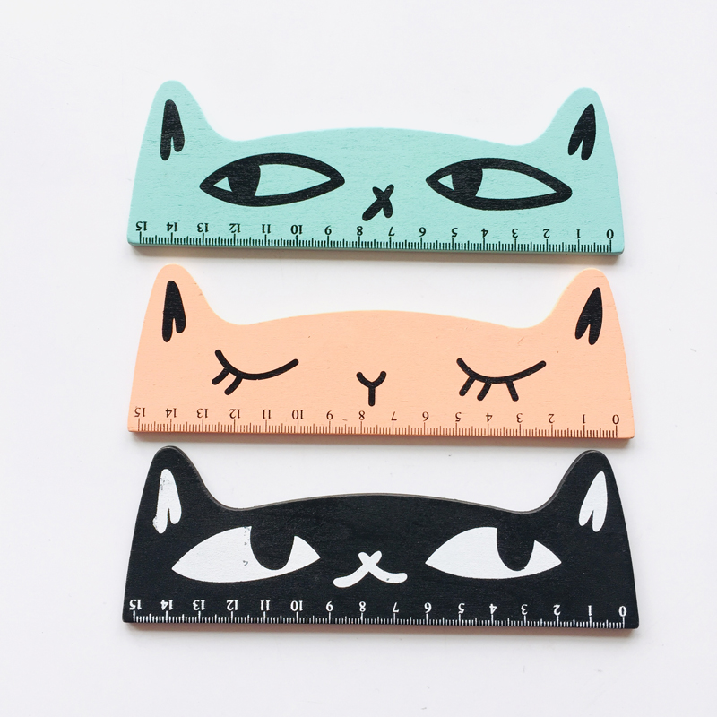 1PC Funny Cat 15CM Wooden Straight Ruler Measure Study Drawing School Student Stationery