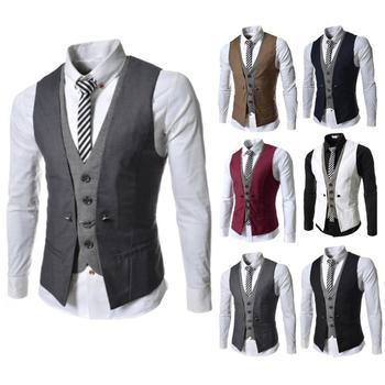 Men Sleeveless V Neck Single-breasted Slim Gilet Business Suit Top Waistcoat Single-breasted Solid Color Slim-Fit fake pocket