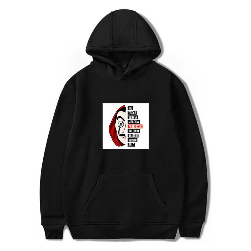 La Casa De Papel Hoodies Men Plus Size Sweatshirt Pullover Hooded Money Heist Harajuku The House of Paper Hoodies Women Hip Hop