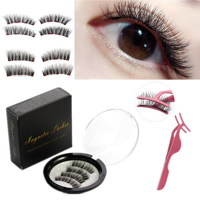 3D magnetic eyelashes With 3/4 Magnets handmade makeup Mink eyelashes extended false eyelashes Reusable false eyelashes Dropship 1