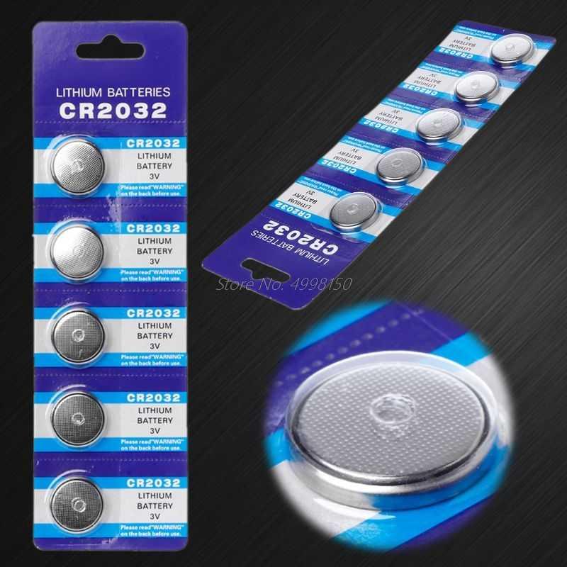 5PCSButton batería 3V CR2032 BR2032 DL2032 ECR2032 batería de litio Li-ion promoción reloj control remoto electrónico por ordenador