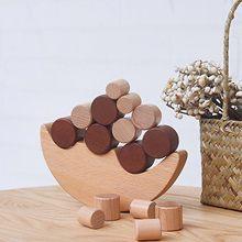Figuras de equilíbrio de lua de madeira beam faia lua balança empilhados alta para criar figurinhas de interação pai-filho