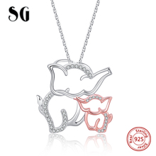 fashion Mom love child rose gold and sterling silver 925 chain women elephant necklace jewelry gifts for mom free shipping 2020