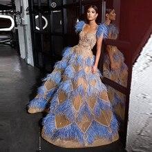 Dubai Che Borda Piume Abiti Da Sera Per La Cerimonia Nuziale Arabo Abiti Del Partito 2020 Custom UNA Linea Vestito Da Promenade Lungo Robe De Soiree couture