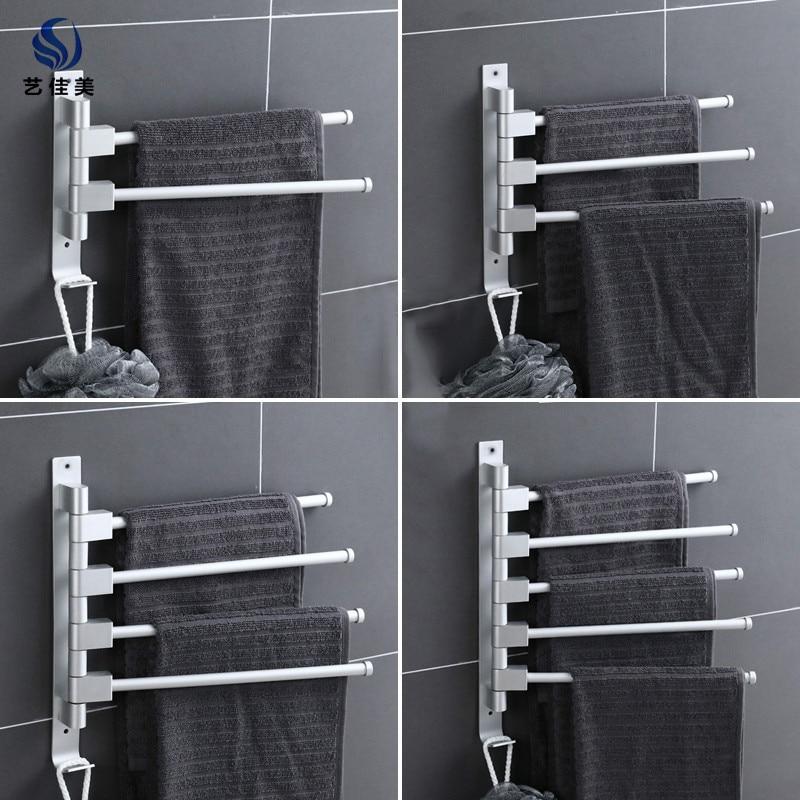 Hole-Punched Alumimum Bathroom Towel Rack Rotating Towel Bar Toilet Wall Hangers Storage Shelf With Hook Storage Rack