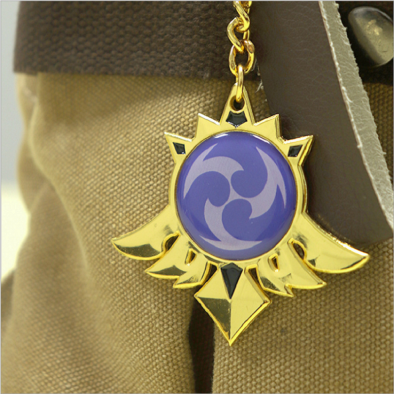 Anime Genshin Impact Mondstadt Keychains Metal Jewelry Cosplay Key Chain 7 Element Weapons Eye of God Accessories Gifts Key Ring