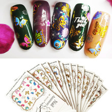 Fashion nail decals 3D stickers color bronzing beautiful butterfly