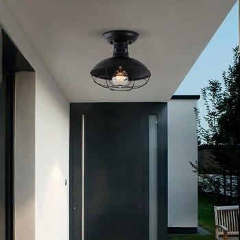 Black metal retro loft industrial ceiling light entry light porch light balcony cloakroom sunshine room ceiling light