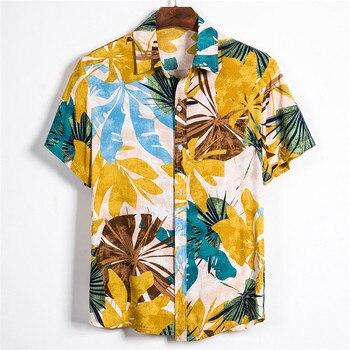 Short Sleeve Men Shirt Hawaii Shirts 2020 Summer Printed Short Sleeve Shirt Soft Male Beach Hawaiian Shirt Chemise Homme 3XL bob dong men s vintage wdf floral printed summer hawaii shirt short sleeve retro pattern beach casual hawaiian shirts for luau