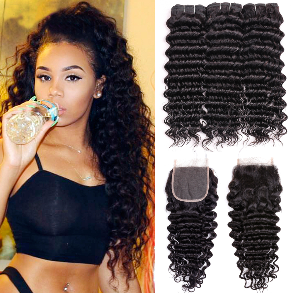 Brazilian Deep Wave Bundles With Closure Double Weft Remy Human Hair Weave 3 Bundles With Closure Natural Color