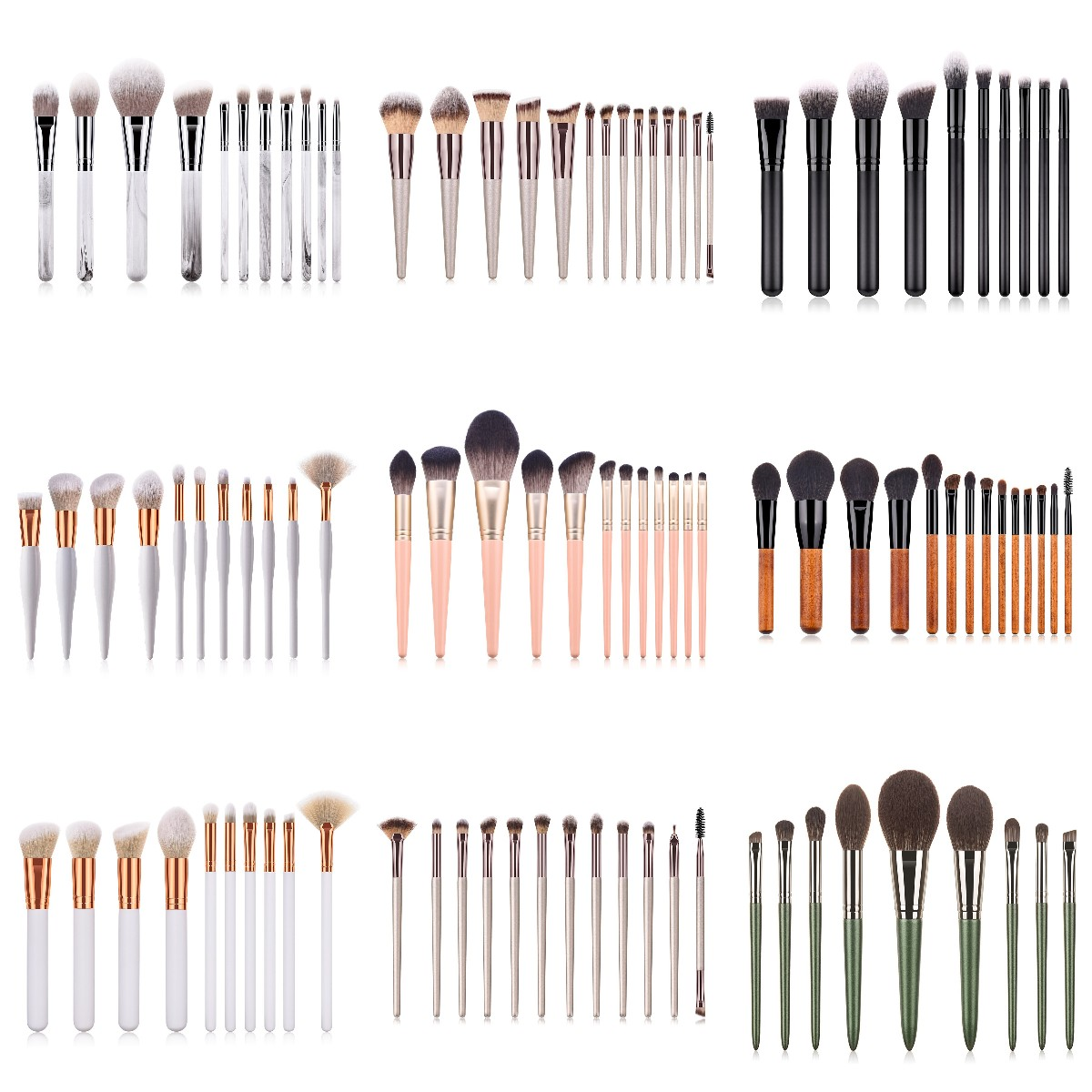 14/12/9PCS Professional Colorful Makeup Brush Set Powder Eye Face Brushes Set Foundation Eyebrow Make Up Brushes Set
