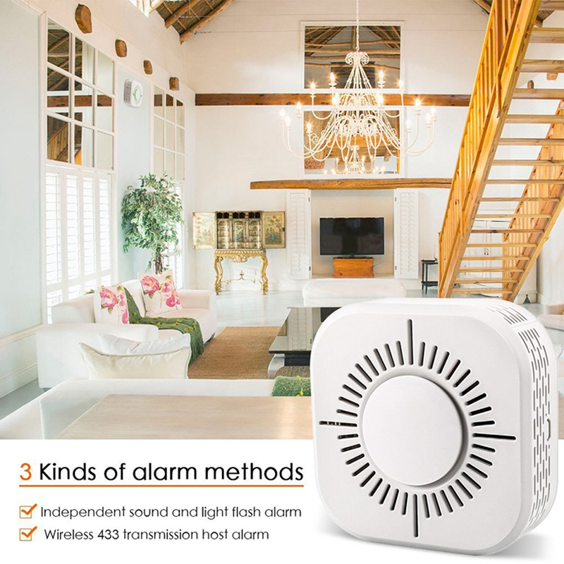 3Pcs Smoke Detector For Smart Home Automation Wireless 433MHz Fire Safety Alarm Sensor C50W Wireless Smoke Fire Detector