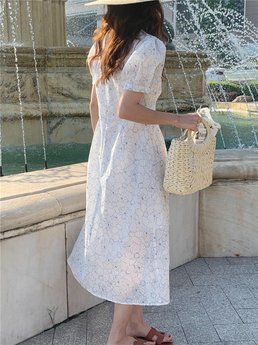 H755c7d7d5e254c9e87a35261d8c8d86f2 - Summer V-Neck Puff Sleeves Floral Print Buttons A-Line Midi Dress