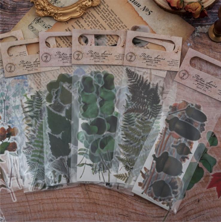 20 pcs pack Green Plant flower Series Bullet Journal Decorative font b PET b font Stickers