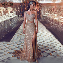 Gold Sequined Sparkle Long Evening Dress Mermaid One Shoulder Sleeveless Arabic Saudi Formal Prom Gown