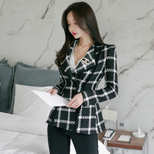 2019 Autumn Winter Thick Jacket Plus Size Black Wool Coat Women Modis Vintage Plaid Woolen With Pockets Casaco Feminino