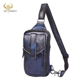 Trend Men Original Genuine Leather Travel Backpack Belt Fasion Blue Fanny Waist Chest Pack Bag Sling Crossbody Bag Daypack XB571