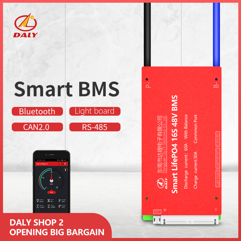 Daly Smart BMS  16S 48V  Bluetooth+485 To USB Device +CAN+NTC +UART  Togther Lion LiFePO4 LTO  Batteries2.3V/2.4V Conn