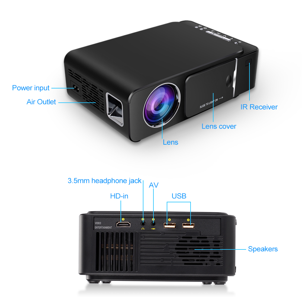Vivicine 1280x720p projetor hd portátil, opção android 7.1 hdmi usb 1080p casa teatro proyector wifi mini led beamer - 6