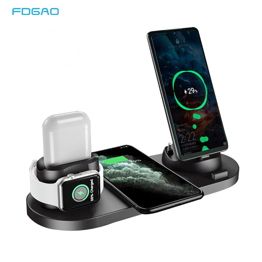 <font><b>6</b></font> in 1 Wireless Charger Station for <font><b>iPhone</b></font>/Android/Type-C USB Phones 10W <font><b>Qi</b></font> Fast Charging Dock Stand for Apple Watch AirPods Pro image