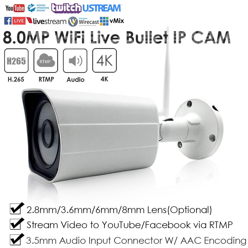 4k 8.0mp sem fio wifi ir mini compacto à prova dwaterproof água bala live streaming ip câmera empurrar vídeo ao vivo para youtube facebook vimeo etc.