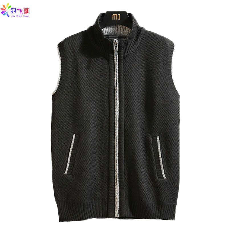 Autumn Winter Men's Sleeveless Sweater Casual  Mens Pullover Sweaters Vest  Solid Black Sweater Vest Waistcoat Blusa De Inverno