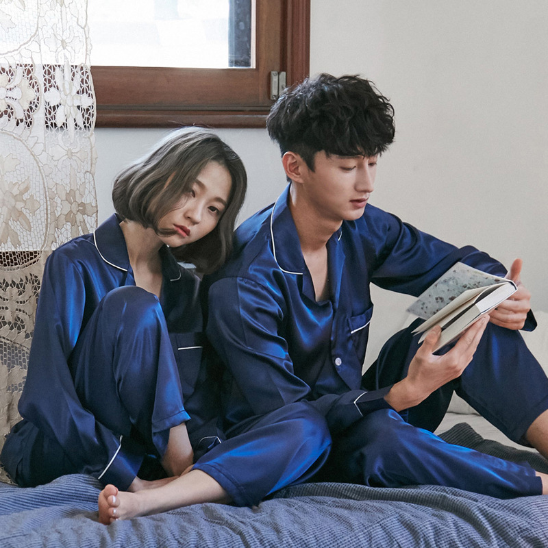 Luxury 2 Piece Silk Satin Couple Pajamas Set Blue Cozy Soft Sleepwear Long Sleeve Pyjamas Winter Men Women Homewear Suit 191207