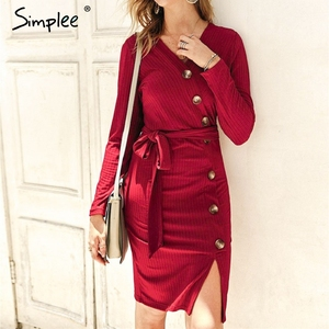 Image 3 - Simplee Sexy sheath women party dress High waist v neck single breasted winter dress Long sleeve lady autumn work wear vestidos
