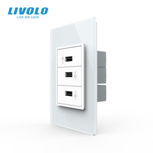 Livolo S5 US AU Standard 67.5mm Luxurious Telephone Com TV  SATV aiduo socket, white Pearl Crystal Glass panel, socket plugs
