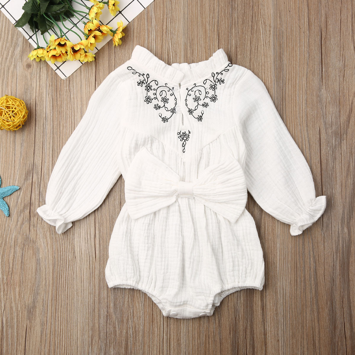 Pudcoco Newborn Baby Girl Clothes Solid Color Flower Print Long Sleeve Bowknot Romper Jumpsuit One-Piece Outfit Cotton Clothes