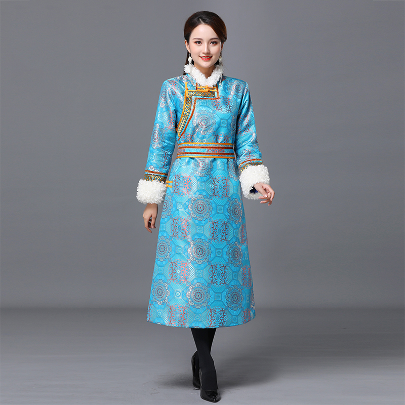 Vintage mongolian costumes suits for women embroidered long robe ethnic clothing winter asia elegant gown