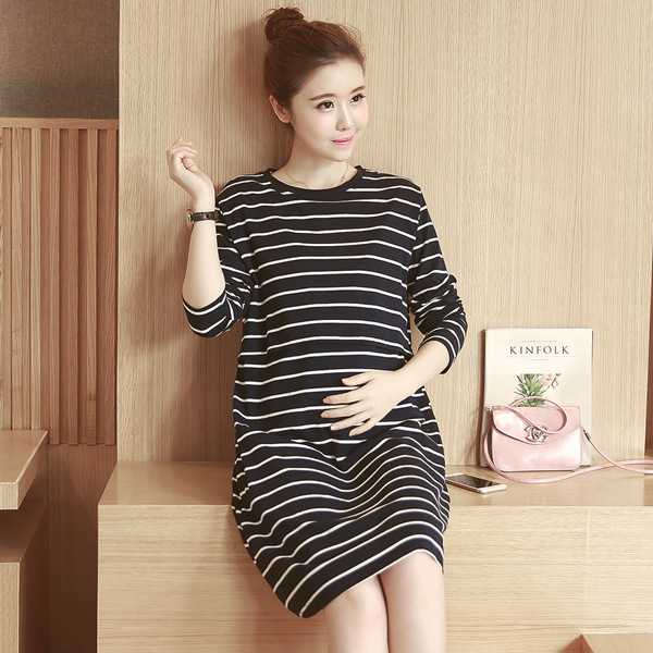 Autumn 2019 Vestido Pregnant Woman Maternity Dresses Knitting Stripe Pregnant Woman Nurse Clothes Long Fund Lactation Dress