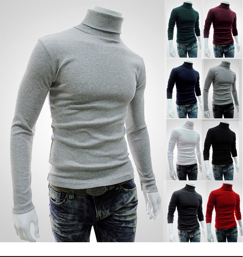New Autumn Winter Men'S Sweater Men'S Turtleneck Long Sleeve Solid Color Casual Sweater Men's Slim Fit Brand Knitted Pullovers