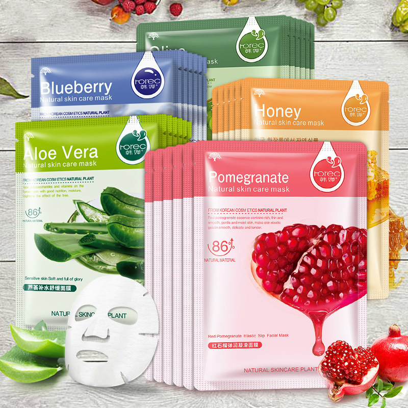 Honey Blueberry Aloe Pomegranate Olive  Face Mask Cucumber Plant Mask Moisturizing Cosmetic Mask 30g