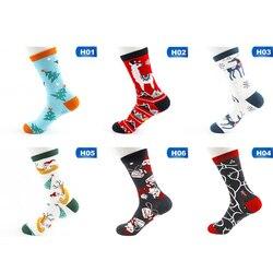 Рождественские женские теплые носки со снеговиком, повседневные хлопковые носки высокого качества