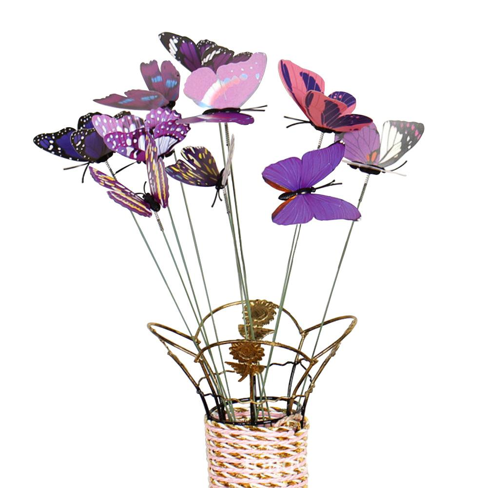 10Pcs/Set Simulation Butterfly Stick Outdoor Garden Flower Pot Decor Ornament Yard Plant Lawn Decor Fake Butterefly