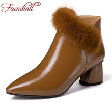 FACNDINLL spring women leather short boots black brown real fur med heels pointed toe zip shoes woman dress party riding