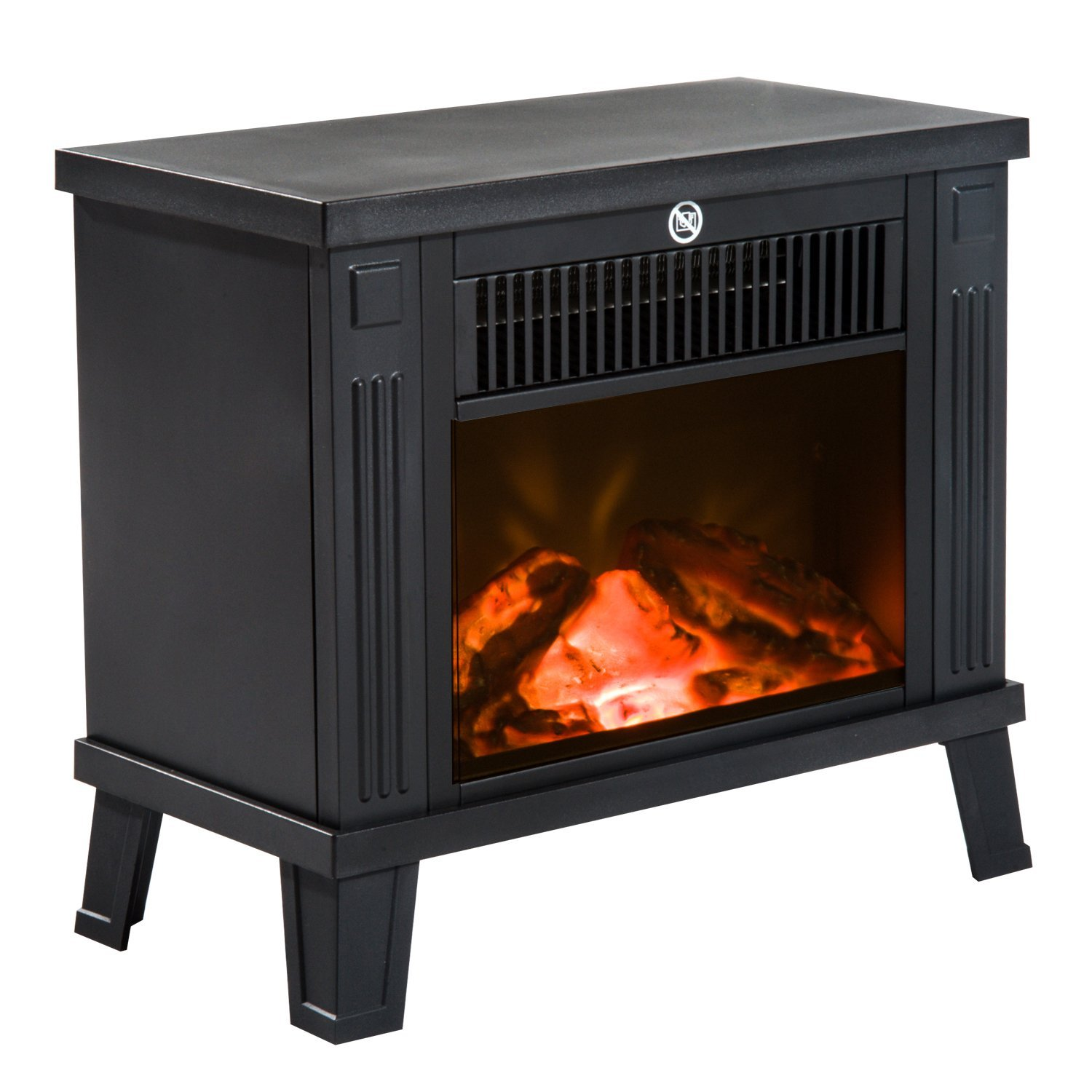 HOMCOM Modern Electric Fireplace Power 600 W/1200 W With Flame Effect Floor 34.5x17x31 Black Inches