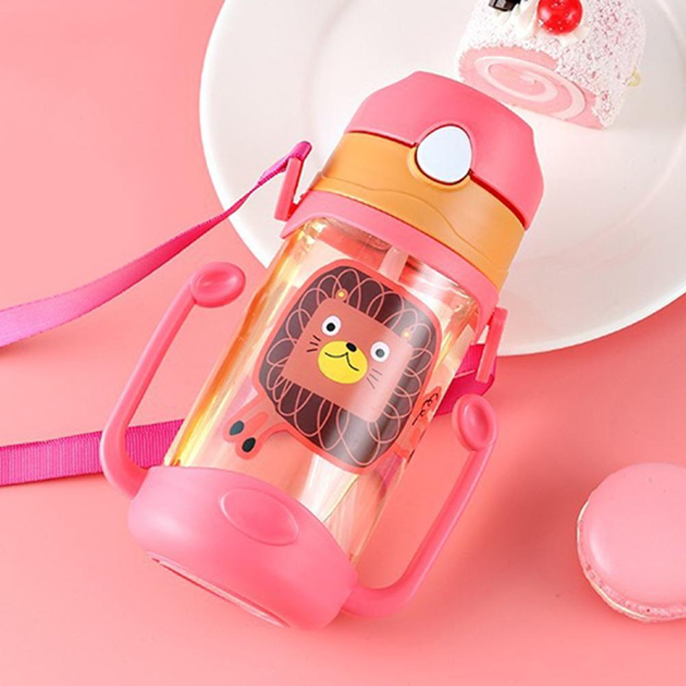 Kids Baby Water Bottle Cartoon Portable Baby Leak Proof Straw Water Bottle Sippy Cup With Lanyard 400ml