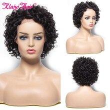 Klaiyi saç Pixie kesim peruk kısa kıvırcık peruk kadınlar için dantel ön İnsan saç peruk brezilyalı Remy saç peruk doğal renkli