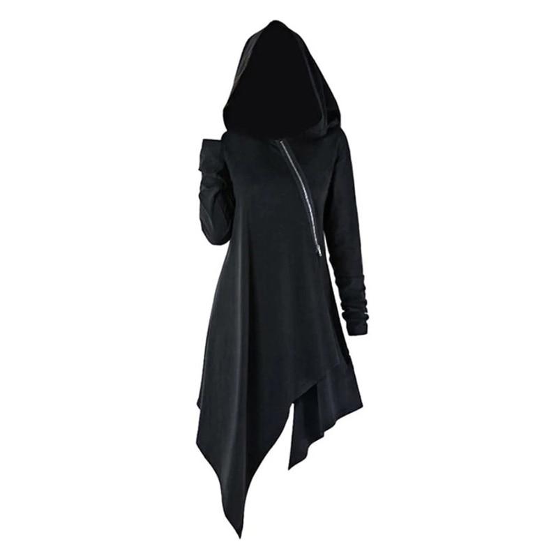 Women Hooded Sweatshirt Irregular Hem Tops Pullover Jumper Vintage Long Sleeve Solid Color Zipper Autumn Steampunk Hoodies Lady