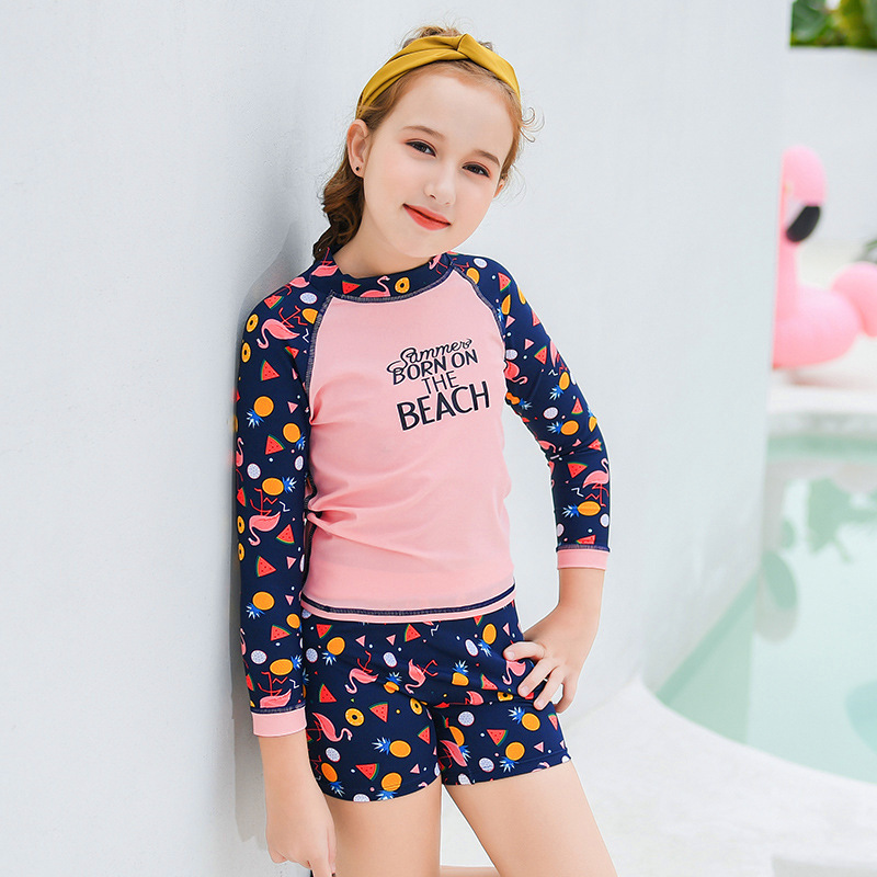 KID'S Swimwear Girls Big Boy Large Size Sports Split Type Long Sleeve Boxers With Chest Pad Students Conservative Swimming Suit